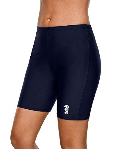 (anfilia High Waist Swim Shorts for Women Seahorse Long Board Shorts Navy X-Large )