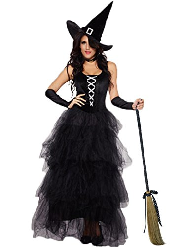 JJ-GOGO Witch Costume for Women - Halloween Adult Sexy Fancy Spellbound Witch Costume -