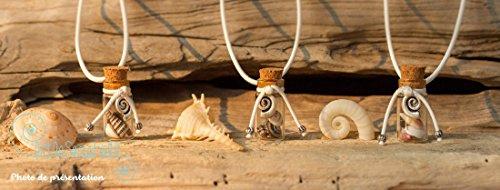 Collar de conchas de mar regalo de Pascua botella de cristal y acero inoxidable, única joya
