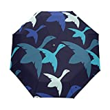DOENR Compact Travel Umbrella Flying Bird Sun and Rain Auto Open Close Lightweight Portable Folding Umbrella