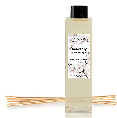 LOVSPA Heavenly Southern Magnolia Reed Diffuser Oil Refill with Replacement Reed Sticks | Scent for Kitchen or Bathroom, 4 oz| Made in The USA