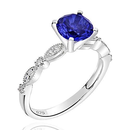 GemsChest Sterling Silver 2 Ct Round Created Blue Sapphire & Cubic Zirconia Ring