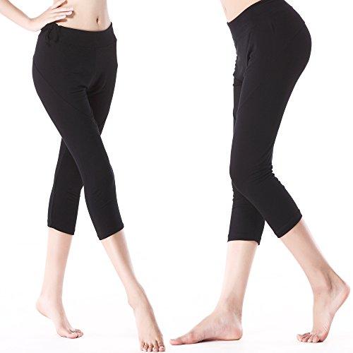 Sidiou Group Capri pedorreros para mujeres, Pantalón /polainas de Yoga ,carrera & entrenamiento , Pantalón para danza y la práctica de la aptitud negro