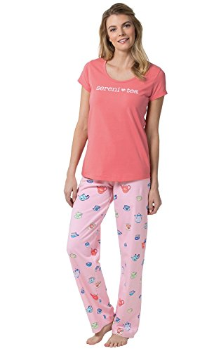 PajamaGram Sereni-Tea Women's Pajamas and Short-Sleeved Top, Pink, XSM (2-4) (Is What Light Tea)
