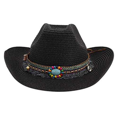 OMINA Western Style Straw Hat, Fashion Now Sale Summer Fall Outdoor Classic Cattleman Cowboy/Cowgirl Hats Black