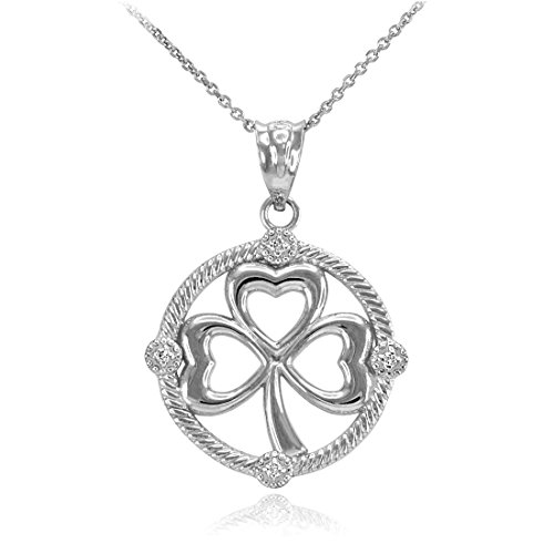 Diamond Shamrock Charm - 14K White Gold Irish Shamrock Clover Diamond Pendant Necklace (18)