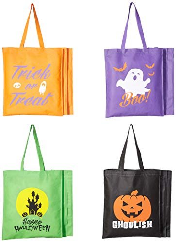 Bulk 12 Pack Kids Large Halloween Trick or Treat Fun Tote Bag Assortment - Holds All of The loot from Trick or Treating and Trunk or Treating
