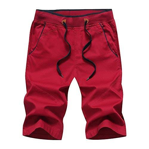 Fitness De Marca Rojo Verano Joggers Cortos Monos Hombres Frescos Algodón Mode Informal Relajado Tarjeta Pantalones A6YPtqnY