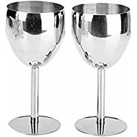 2 Pieces GiniHome Stainless Steel Shatterproof Wine Glasses
