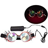 Spike Glowing Tube Steampunk Goggles Kaleidoscope Glasses Punk Gothic Cosplay with Remote Control