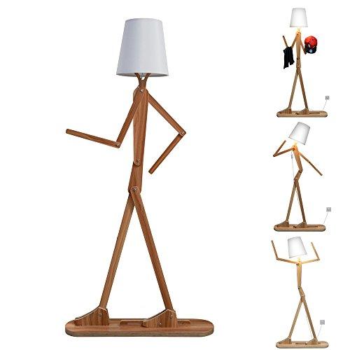 Wooden Original 1.6m Ffloor Lamp Room Standing Light Variety Character Modeling Shade Linen White Modern Cool for Bedroom Living Room