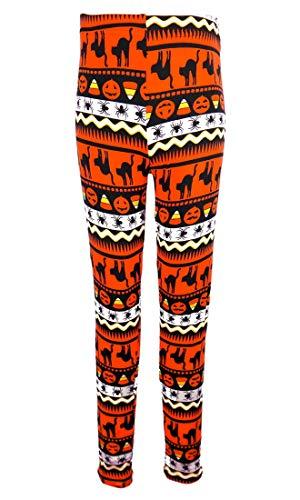 Just One Girls Halloween Leggings, Black Cats, Spiders, Pumpkin Jack-o-Lantern, Orange 5/6 Medium ()