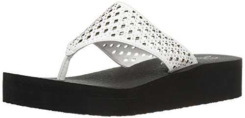 Skechers Cali Women's Vinyasa Flow Wedge Sandal, White Cutout, 8 B(M) US