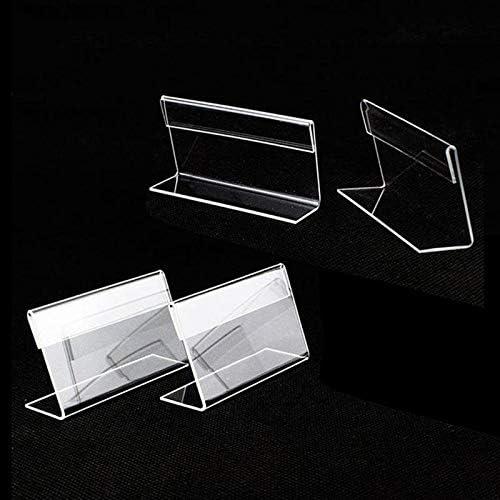 Queta 12pcs mini Portatarjetas Exhibici/ón de letreros Titular de la Tarjeta de Etiqueta de precio transparente de acr/ílico Soporte de exhibici/ón de letreros de mercanc/ías 6 x 4cm