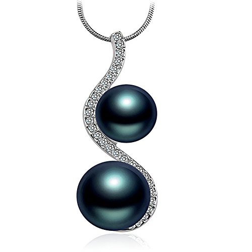 LATIBELL Black Blue Double Pearls Pendant Necklace Pearl Tear Drop Style With Rhinestone Crystal Mother Gift Jewelry for Women - Necklace Double Drop Pearl