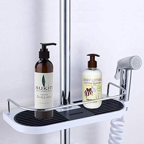 収納ラック棚 多機能アルミバスルーム棚シャワー収納ラックシングルティアシャワーヘッドホルダーシャンプーローションバスタオルトレイハンガー 家のホテルの装飾のため
