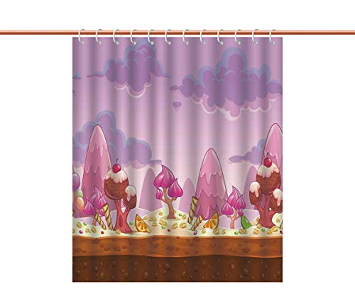 iPrint No Chemical Odor Shower Curtain [ Girls Room Decor,Cartoon Sweet Candy Land Cupcakes Ice Cream Chocolate Oranges Mountains,Multicolor ] Fabric Bathroom Decor Set with Hooks