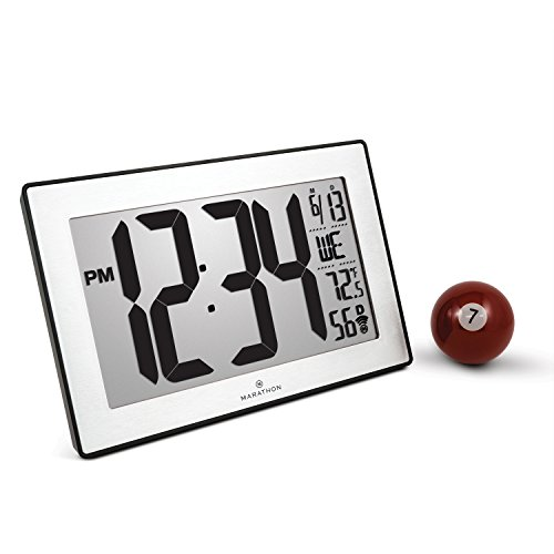 Marathon Atomic Self-setting Self-adjusting Wall Clock w/Stand & 8 timezones - Batteries Included (Black/Stainless Steel)