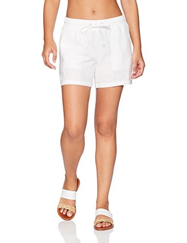 Amazon Essentials Women's 5'' Drawstring Linen Beach Short, White, Medium by Amazon Essentials