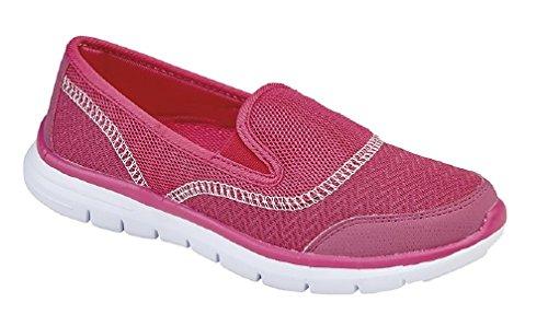 Dek Damen Textil Twin Gummizug Freizeit Schuh Trainer Fuchsia Textile