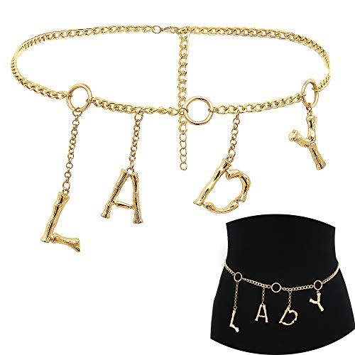 Gold Harness Waist - Jurxy Alloy Waist Chain Body Chain for Women Waist Belt Word Tassel Pendant Belly Chain Adjustable Body Harness for Jeans Dresses - Gold Lady