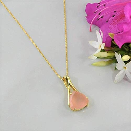 SIVALYA Rose Quartz Pendant Necklace in 925 Sterling Silver with Gold Vermeil - Luxurious Gift Packaging Included