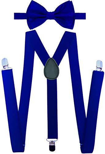 Y-Back Suspenders and Bow Tie Matching Set, Pre-Tied, Clip Design, Elastic, Adjustable Straps, Classic | Great for Weddings,Parties,Graduations, Theme Party | Nice&Unique Gifts for Men (Royal Blue) ()