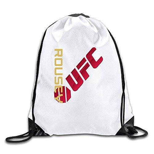 UFC Ronda Rousey Bantamweight Champion Logo White Drawstring Backpack Sport Bag For Men & Women