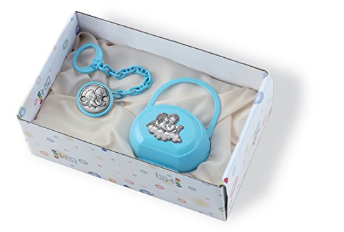 (Silver Touch USA Pacifier Case and Pacifier Holder Gift Set with Sterling Silver Angels, Blue)