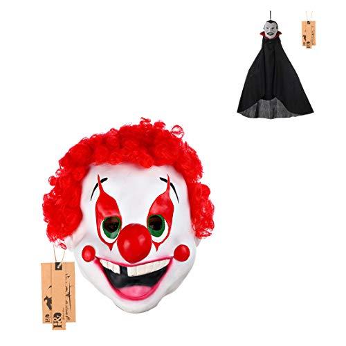 2pcs/ Set Scary Clown Mask Halloween Party Costume Decorations Creepy Latex Mask]()