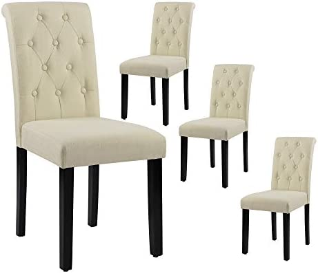 LSSBOUGHT Button-Tufted Upholstered Fabric Dining Chair