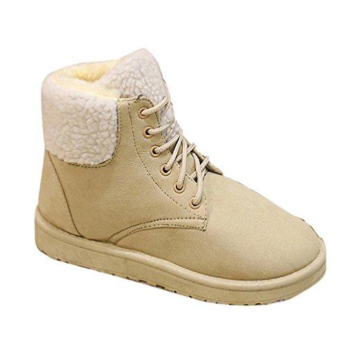 Botas Mujer,Ouneed ® La nieve de las mujeres de la manera bota el tobillo plano ata para arriba la piel alineó los zapatos calientes marrón