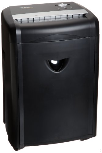 AmazonBasics 12-Sheet High-Security Micro-Cut Paper, CD, and Credit Card Shredder with Pullout Basket (Staples Business Cards)