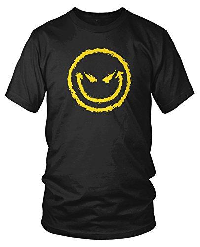 Amdesco Men's Evil Smile, Evil Smiley Face T-Shirt, Black Large