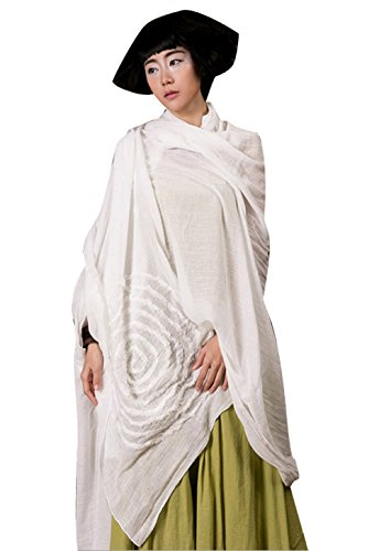 Yesno O159 Women Large Scarves Wraps Poncho Shawl for Dress Casual Embroidery 100% (Cotton Embroidered Wrap)