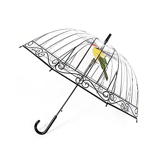 Parasol transparente mango largo en la jaula para dí as soleados y lluviosos Lovelysunshiny