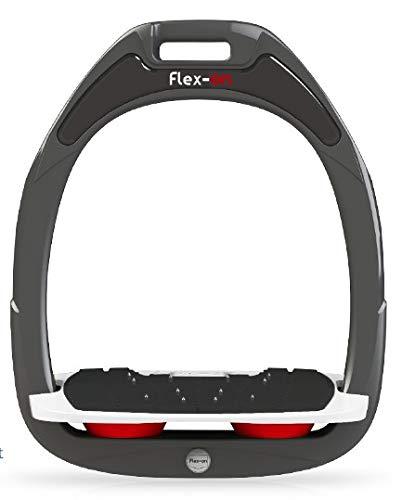 【 限定】フレクソン(Flex-On) 鐙 ガンマセーフオン GAMME SAFE-ON Mixed ultra-grip フレームカラー: ダーク グレー フットベッドカラー: ホワイト エラストマー: レッド 06913   B07KMNVY1H