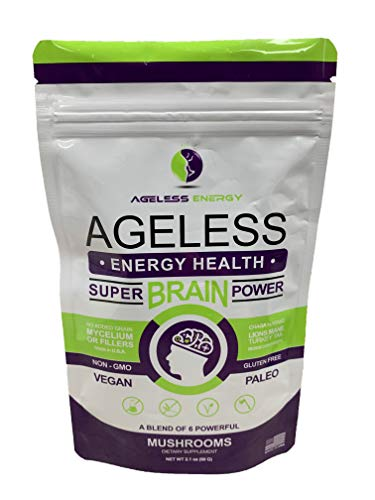 - Super Brain Power Mushroom Powder by Ageless Energy - 6 Amazing Mushroom Extract PowderOrganic-Lions Mane, Reishi, Cordyceps, Chaga, Turkey Tail, Maitake-60g-Supplement-Add to Coffee/Shakes/Food