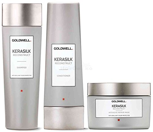 Goldwell Kerasilk Reconstruct Set - Shampoo 250ml + Conditioner 200ml + Intensive Repair Mask 200ml Kerasilk Goldwell
