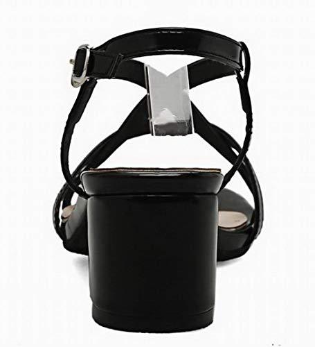 Pelle di Medio Sandali Nero Fibbia Puro AllhqFashion Tacco Maiale Donna FBUILD010491 6UgHwRq5