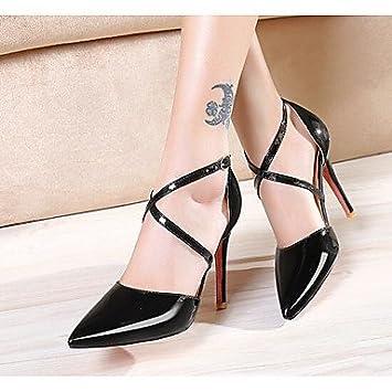 LvYuan-ggx Femme Chaussures à Talons Confort Polyuréthane Eté Décontracté Confort Blanc Noir Jaune 5 à 7 cm , black , us3.5 / eu33 / uk1.5 / cn32