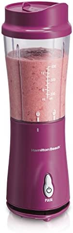 Hamilton Beach Personal Blender for Shakes and Smoothies with 14 Oz Travel Cup and Lid, Raspberry (51131)