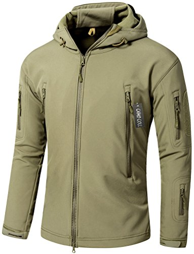 Camo Coll Men's Outdoor Soft Shell Hooded Tactical Jacket (L, Light Army)