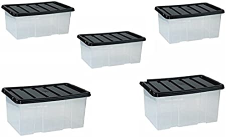 TML 7 Litre Plastic Storage Box Small Stackable Container Tub Lid Office Bedroom