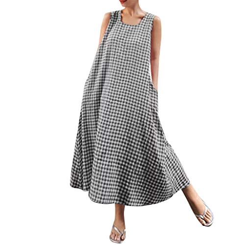 (Beihxwe Women Boho Dress Plaid Print Sleeveless Sundress Summer Loose Linen O Neck Casual Short Mini Gingham Dress (M, Gray))