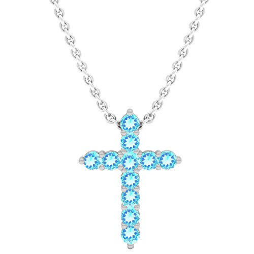 - Dazzlingrock Collection 14K Round Blue Topaz Ladies Cross Pendant (Silver Chain Included), White Gold