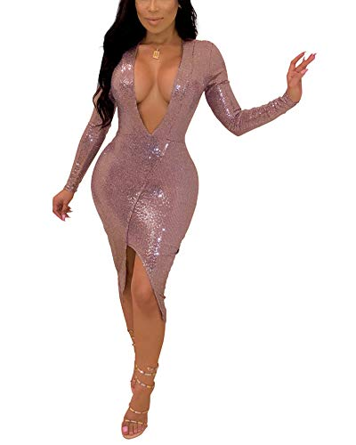 Womens Sexy Sparkle Sequin Cocktail Dresses V Neck Long Sleeve Slit Bodycon Dress Pink XL ()