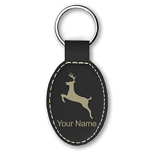 Keychain - Deer - Personalized Engraving Included (Black) Deer Hunting Engraving