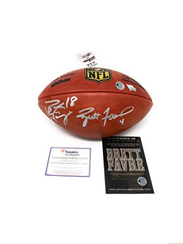 (Peyton Manning Brett Favre Packers Colts Broncos DUAL Signed Autograph Authentic NFL Duke Football Fanatics Authentic Favre Authentic Certified)