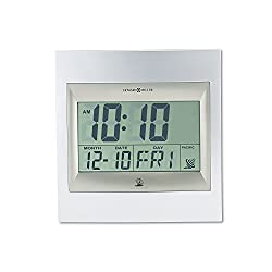 Howard Miller Radio Control TechTime II LCD Wall/Table Alarm Clock, Silver